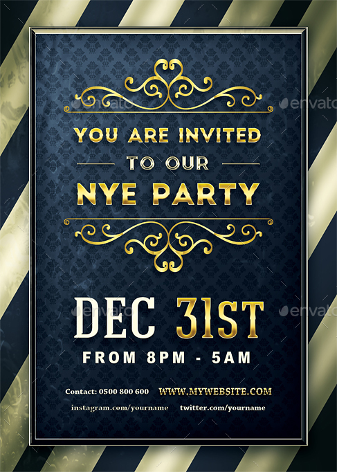 golden nye party invitation by vectormedia graphicriver