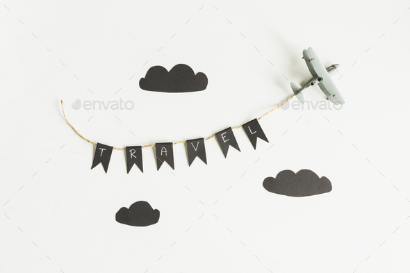 airplane toy on white background, Travel concept - Stock Photo - Images