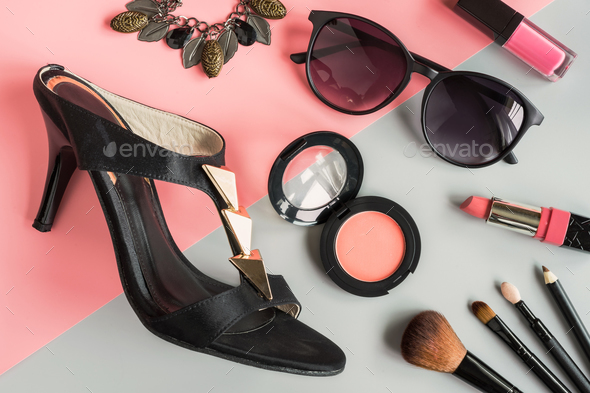 women cosmetics and fashion items with copy space - Stock Photo - Images
