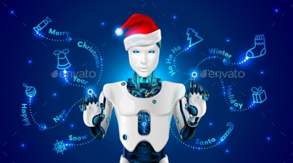 GraphicRiver Robot in a Red Cap of Santa Claus Draws 21084608
