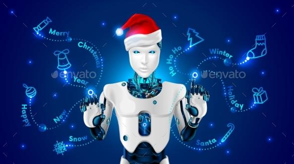 Robot in a Red Cap of Santa Claus Draws - Christmas Seasons/Holidays