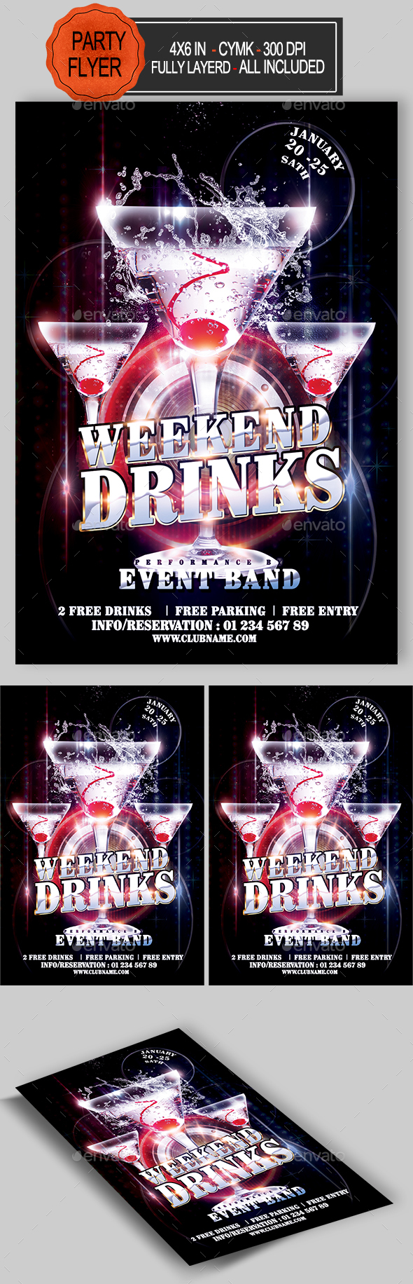 GraphicRiver Weekend Drinks Flyer Template 21084689