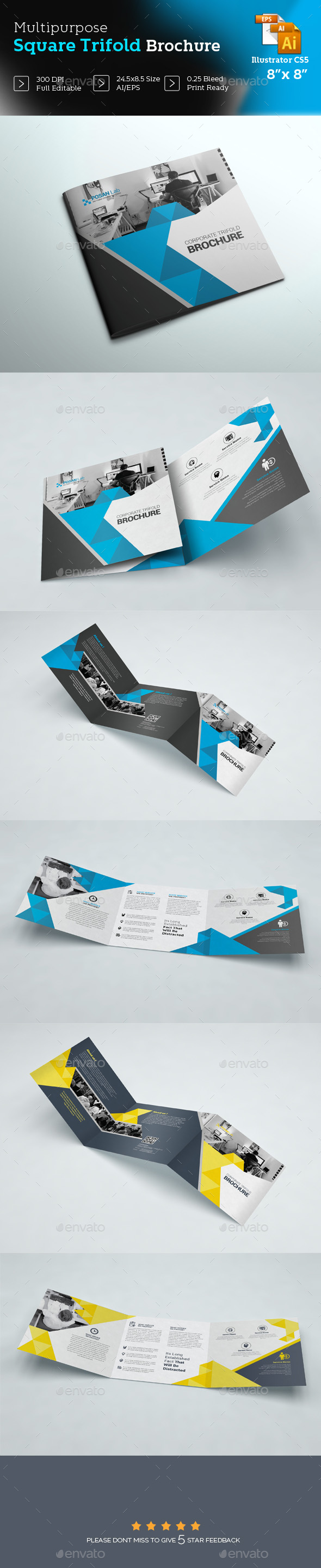 Square Business Trifold Brochure Template - Brochures Print Templates