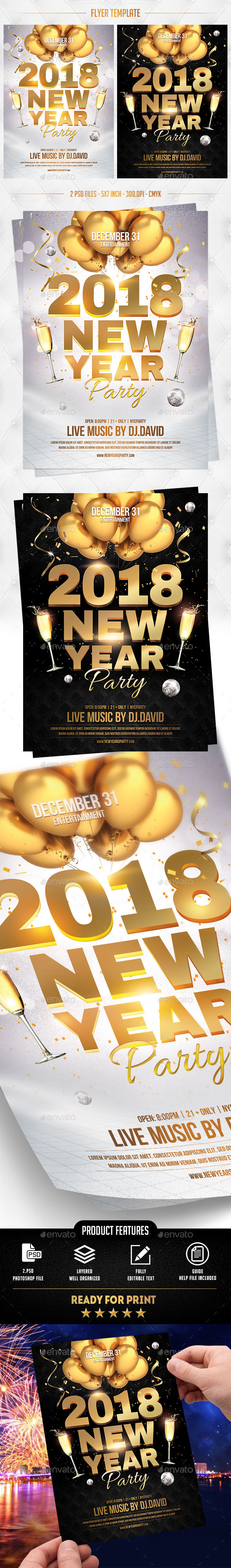 NYE 2018 Flyer Template - Events Flyers
