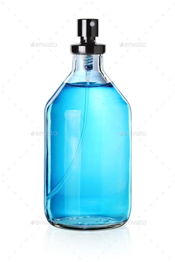 Blue perfume bottle - Stock Photo - Images