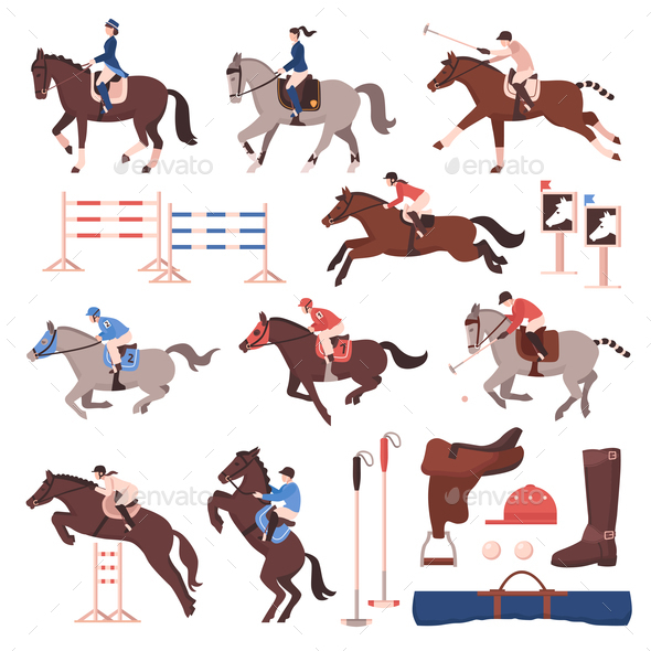 Equestrian Sport Icons Set - Animals Characters