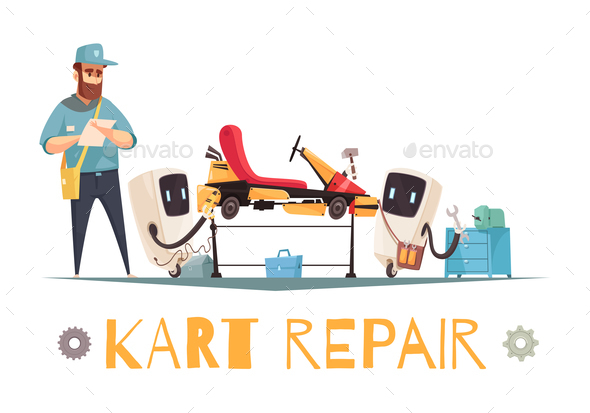 Kart Repair Illustration - Sports/Activity Conceptual
