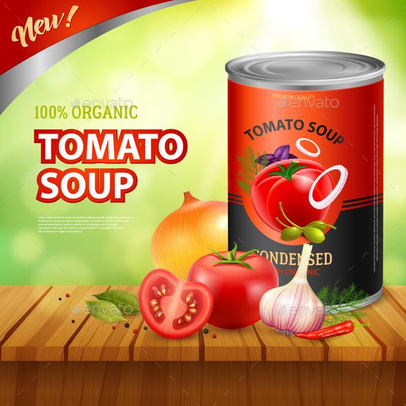 Tomato Soup Packshot Background - Food Objects