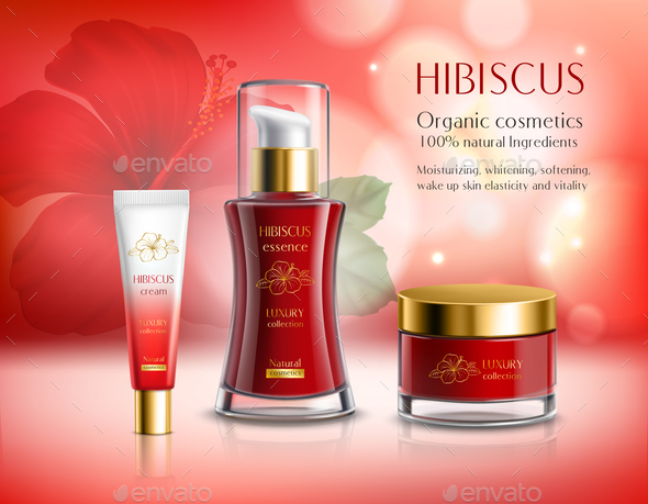GraphicRiver Hibiscus Series Cosmetics Composition 21085022