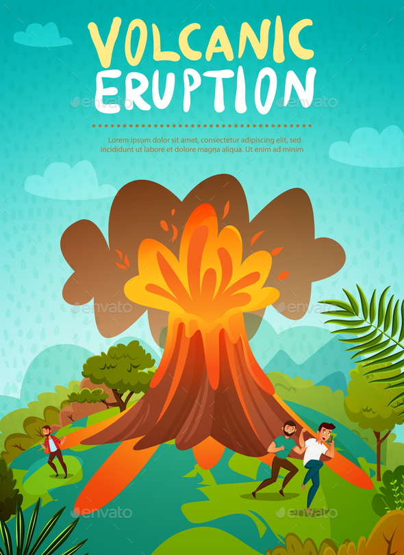 Volcano Eruption Background - People Characters