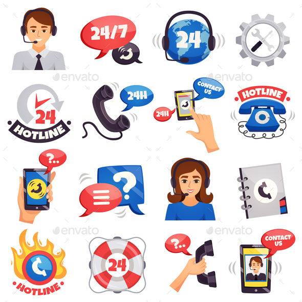 Call Center Colorful Icons Collection - Services Commercial / Shopping
