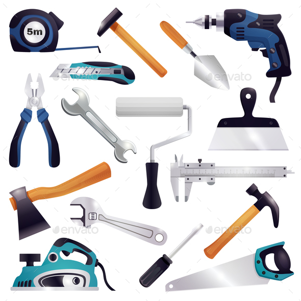 GraphicRiver Construction Renovation Carpentry Tools Set 21085045