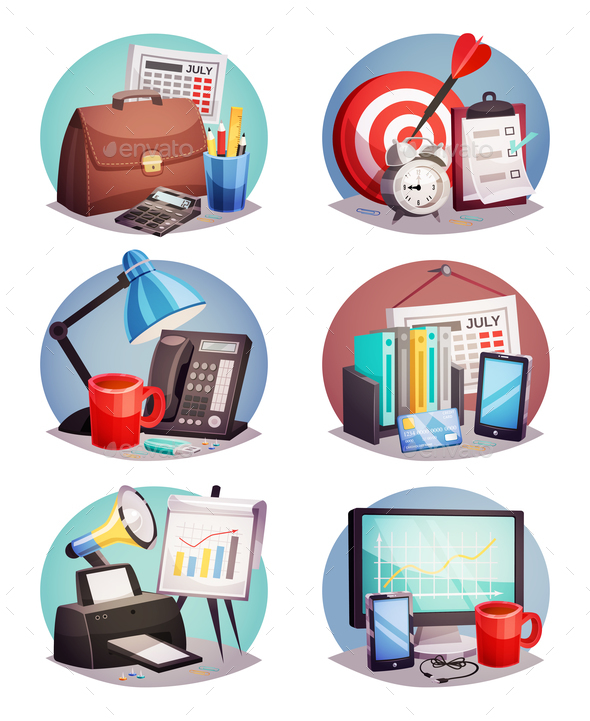 GraphicRiver Business Office Round Icons Set 21085047