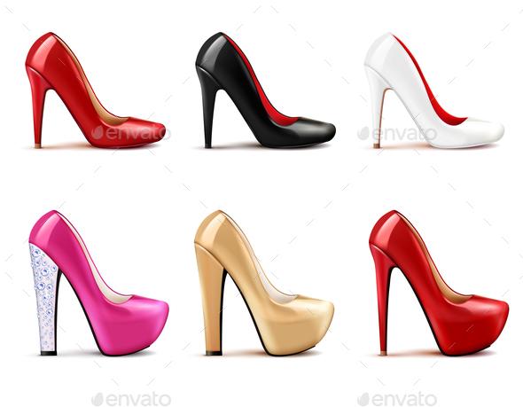 GraphicRiver Women Shoes Realistic Set 21085057