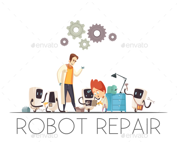 Robots Teamwork Repair Cartoon Composition - Computers Technology