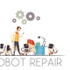 Robots Teamwork Repair Cartoon Composition - GraphicRiver Item for Sale