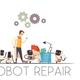 Robots Teamwork Repair Cartoon Composition