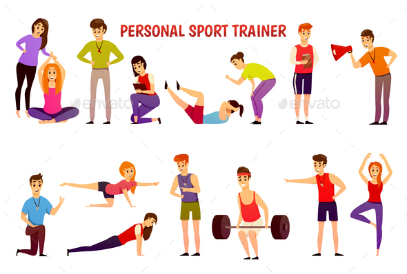 GraphicRiver Personal Sport Trainer Orthogonal Icons 21085078