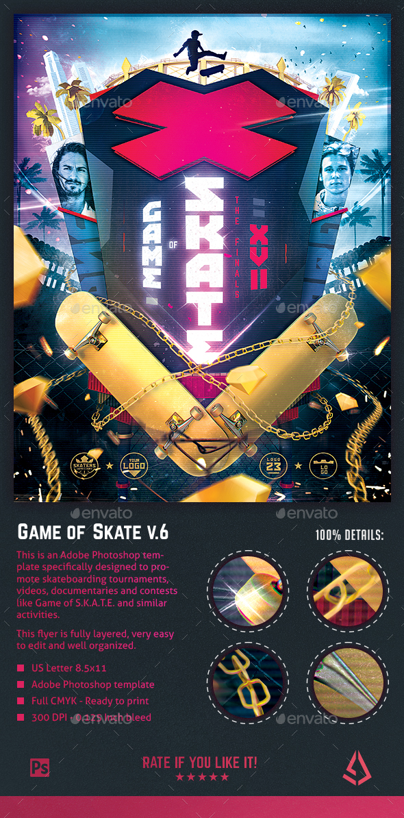 GraphicRiver Game of Skate Skateboarding Poster Template v.6 21085210