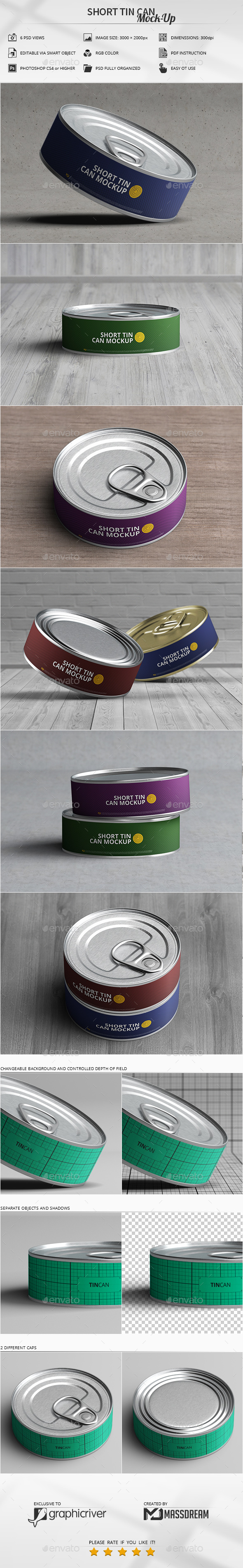 GraphicRiver Short Tin Can Mock-Up 21085469