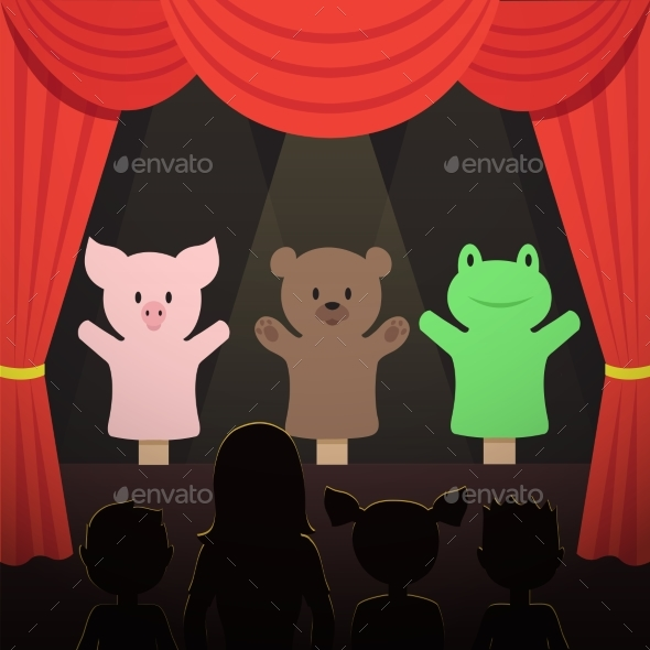 Childrens Puppet Theater Performance with Animals - Miscellaneous Vectors