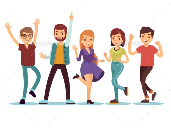GraphicRiver Happy Smiling Dancing Young Persons at Christmas 21085755