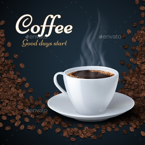 GraphicRiver Aroma of Coffee Beans and Cup of Hot Coffee 21085800