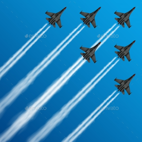 Military Fighter Jets with Condensation Trails - Man-made Objects Objects