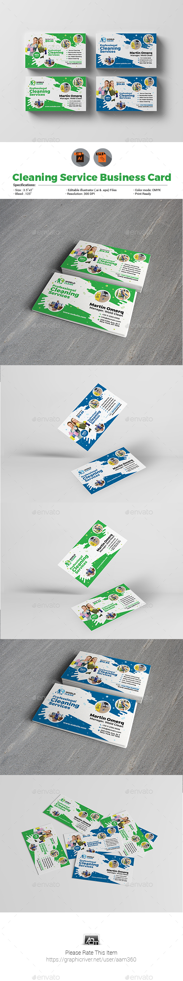 GraphicRiver Cleaning Service Business Card Template 21085876