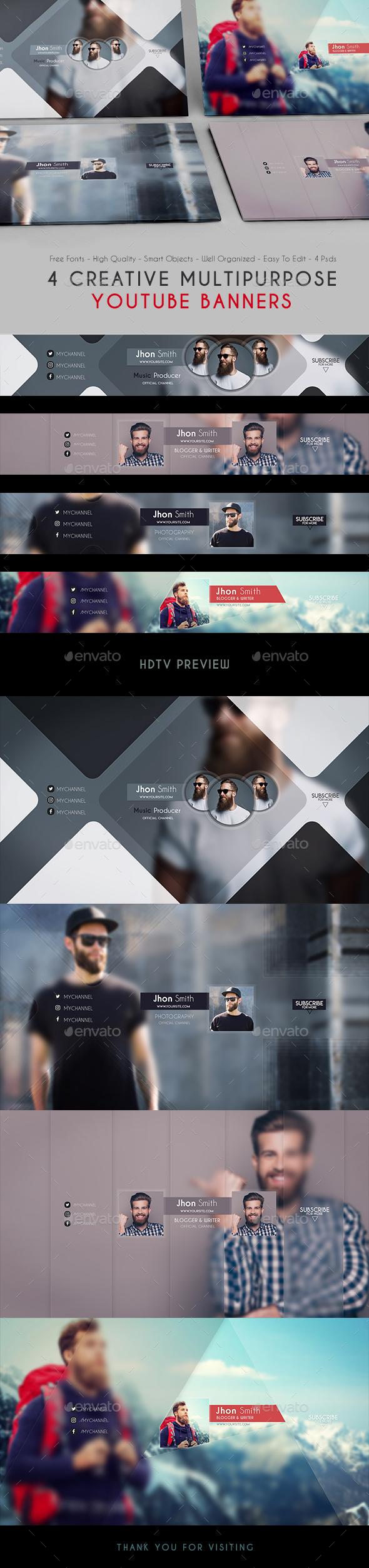 GraphicRiver Creative Multipurpose YouTube Banners 21086002