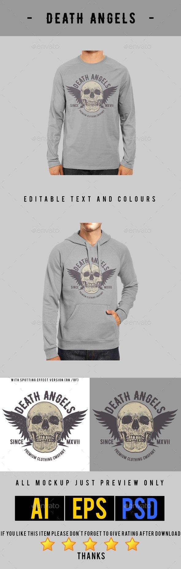 GraphicRiver Death Angels T-shirt Design 21031706