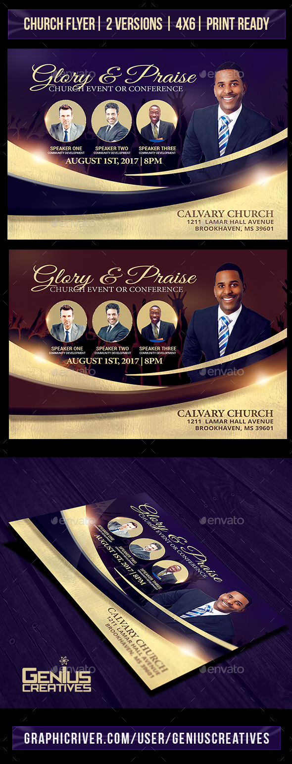Glory and Praise Church Flyer Template - Church Flyers