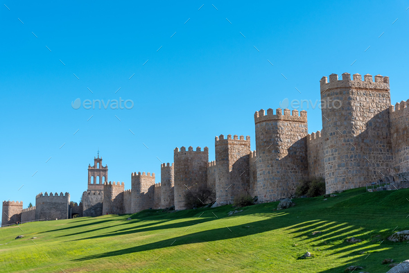 The old medieval city wall of Avila - Stock Photo - Images