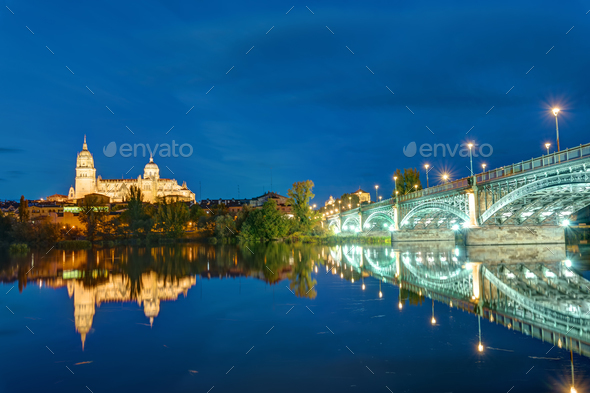 The Cathedral of Salamanca and the river Tormes at night - Stock Photo - Images