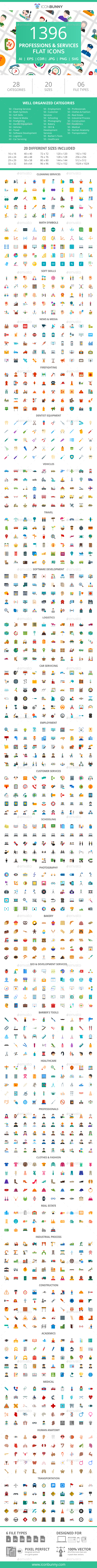 GraphicRiver 1396 Professions & Services Flat Icons 21086879