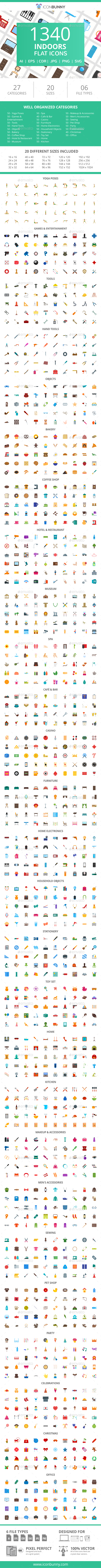 GraphicRiver 1340 Indoors Flat Icons 21086906
