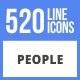 520 People Filled Line Icons