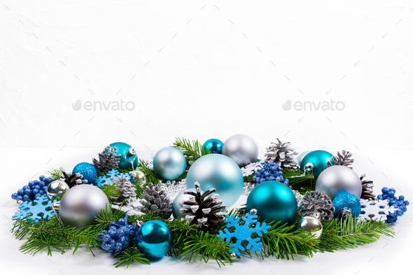 Christmas silver, blue, turquoise baubles wreath, copy space. - Stock Photo - Images