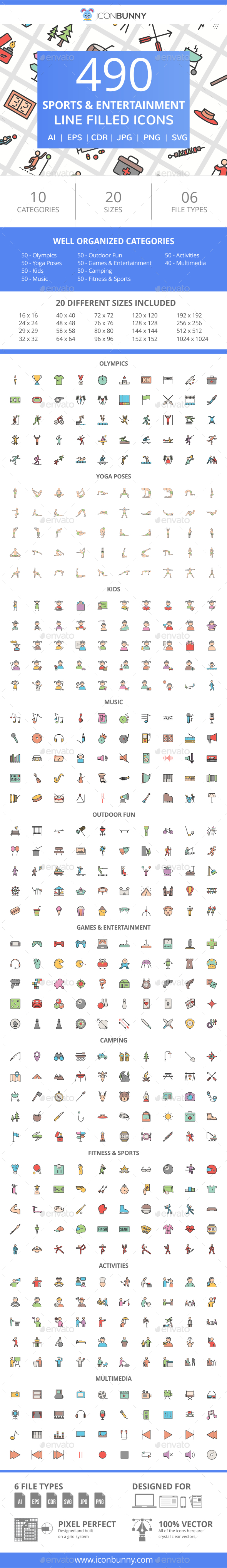 GraphicRiver 490 Sports & Entertainment Filled Line Icons 21087023