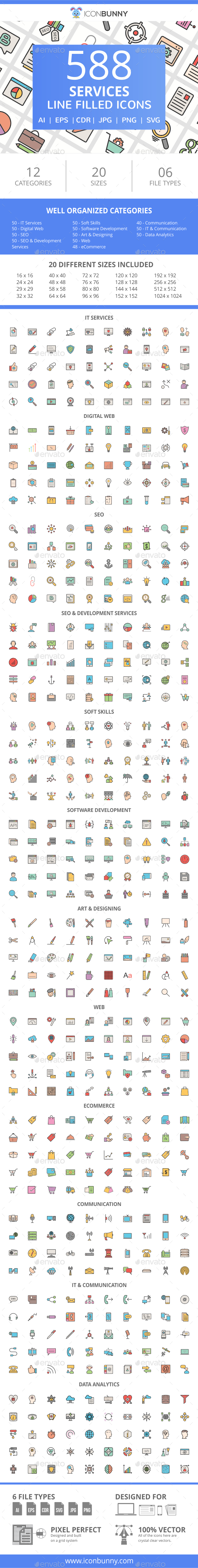 588 Services Filled Line Icons - Icons