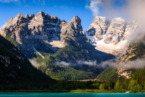 Lago di Landro Lake in the Dolomites, South Tyrol, Italy, Europe - Stock Photo - Images