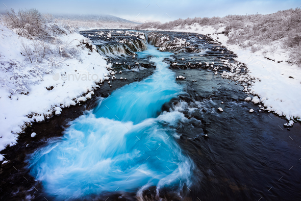 Bruarfoss waterfall, Reykjavik, Iceland - Stock Photo - Images