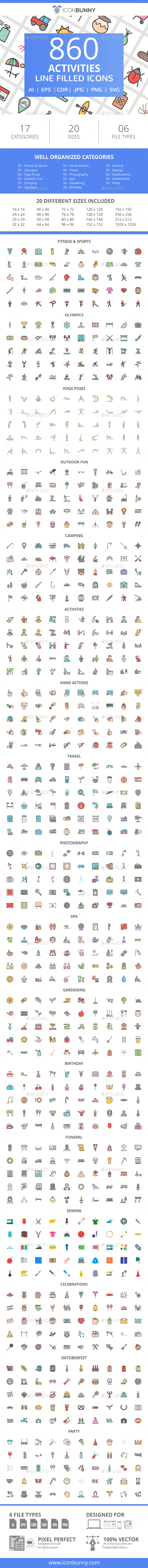 GraphicRiver 860 Activities Filled Line Icons 21087057