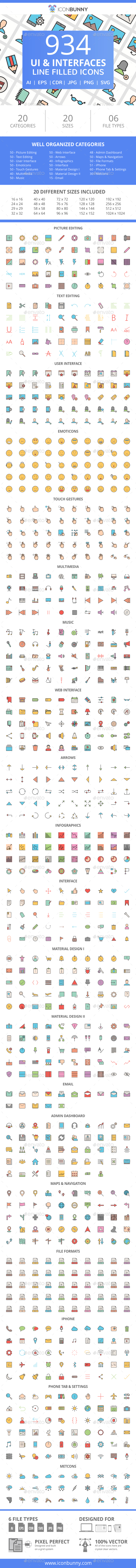GraphicRiver 934 UI & Interfaces Filled Line Icons 21087079