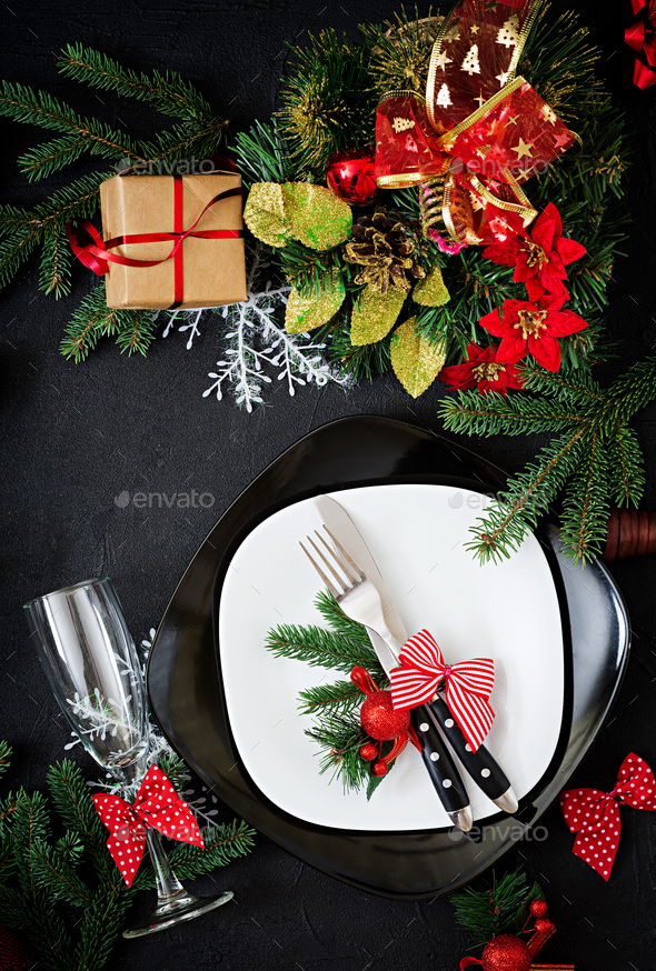 Traditional dishware on Christmas table. Flat lay. Top view - Stock Photo - Images