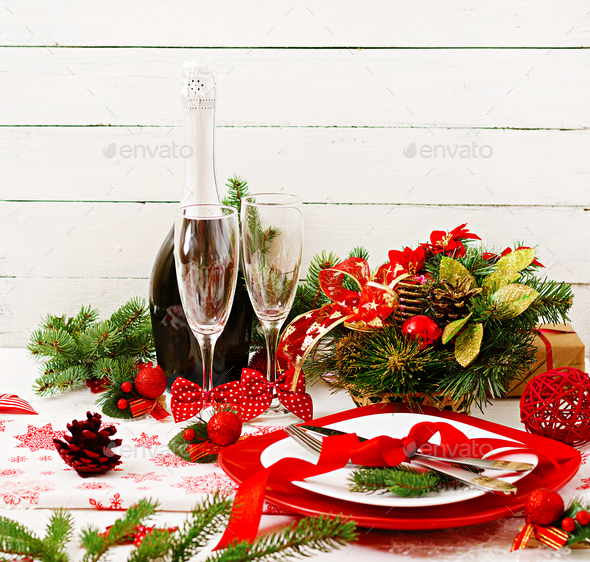 Traditional dishware on Christmas table. - Stock Photo - Images
