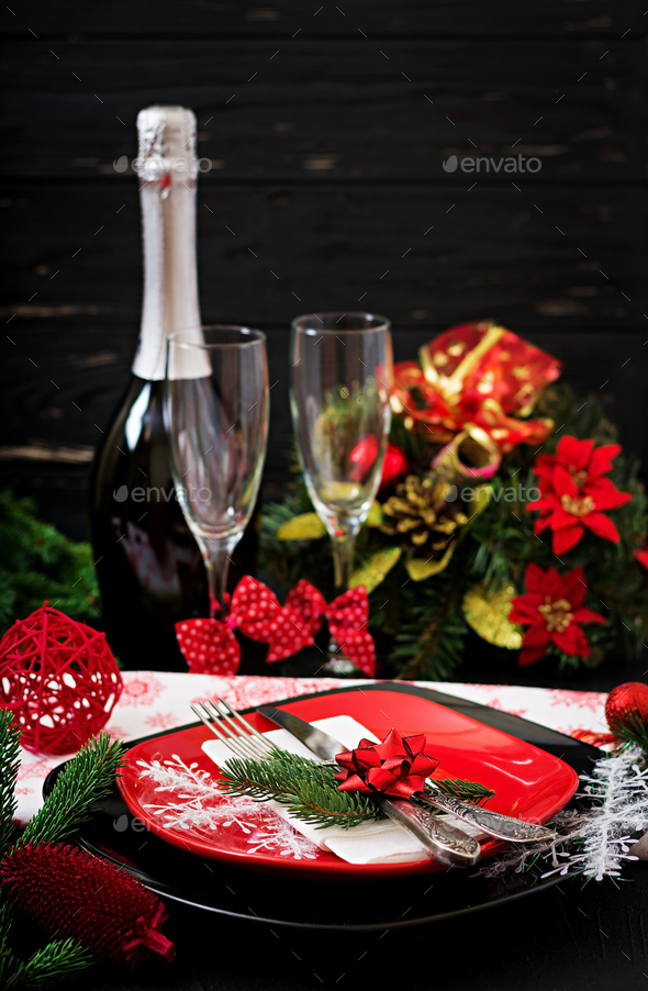 Traditional dishware on Christmas table - Stock Photo - Images