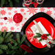 Traditional dishware on Christmas table. Flat lay. Top view - PhotoDune Item for Sale