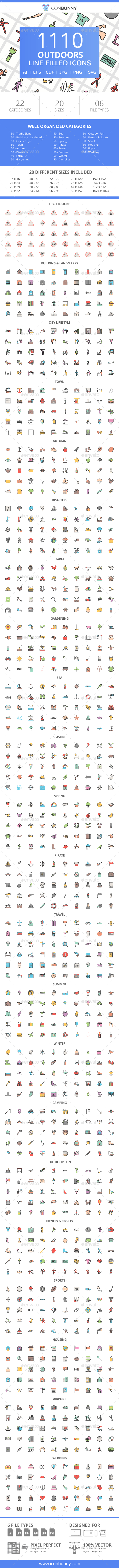 GraphicRiver 1110 Outdoors FIlled Line Icons 21087123