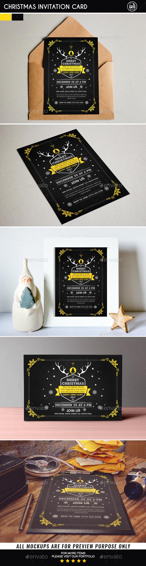 Christmas Invitation Card - Christmas Greeting Cards